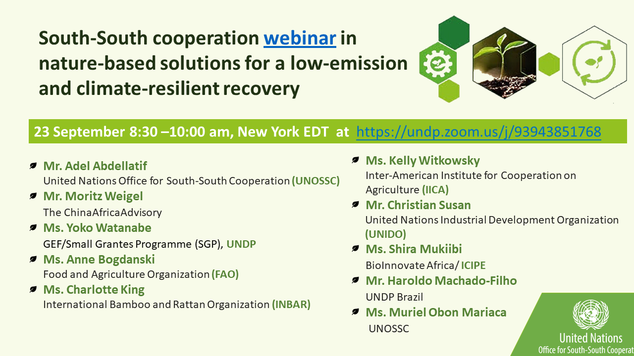 Fostering South-South Cooperation on Nature-Based Solutions for a Low-Emission and Climate-Resilient Recovery
