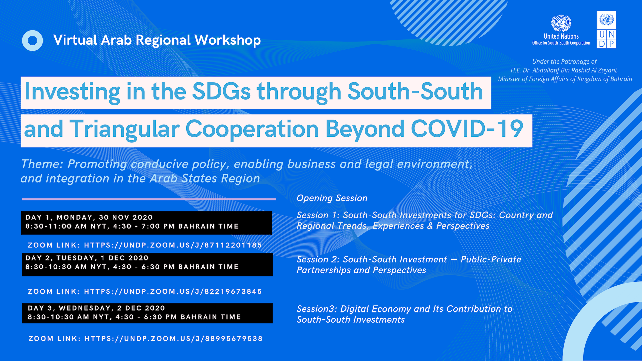Virtual Arab Regional Workshop: Investing in the SDGs through South-South & Triangular Cooperation Beyond Covid-19