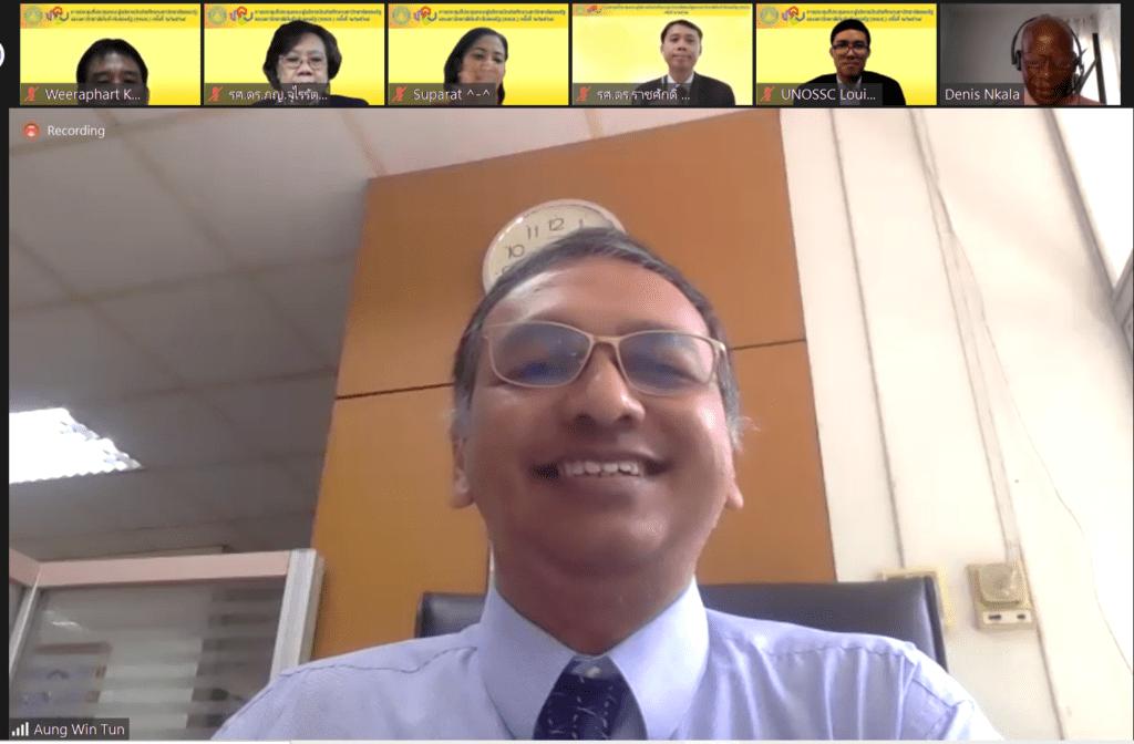 Dr. Aung Win Tun introducing Mr. Denis Nkala during the meeting.